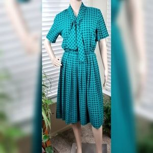 Vintage Green Swing Dress w/Tie, Blk Houndstooth